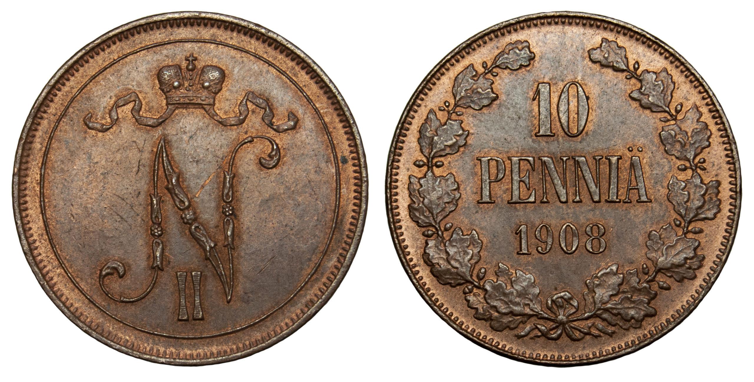 Finland, Nicholas II of Russia, copper 10 Pennia, 1908