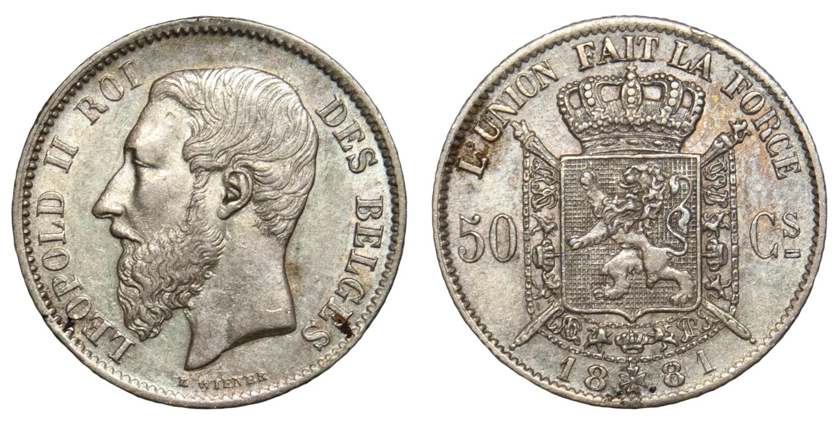 Belgium, Leopold II, 50 centimes, 1881
