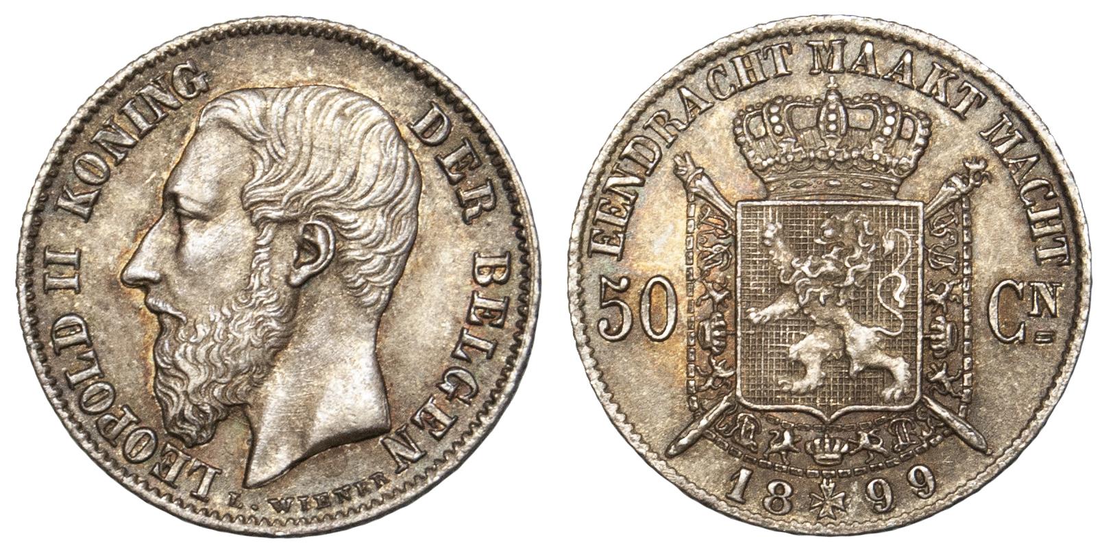 Belgium, 1/2 Franc, 1899