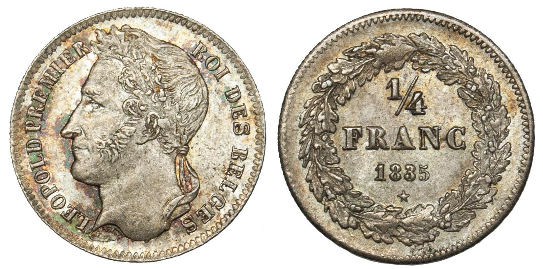 Belgium, 1/4 Franc, 1835