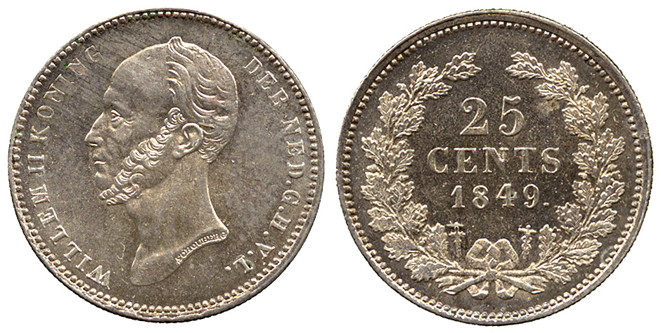Netherlands, Willem II, 25 Cents, 1849