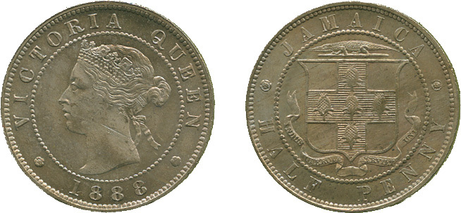 Jamaica, Victoria, Halfpenny, 1888