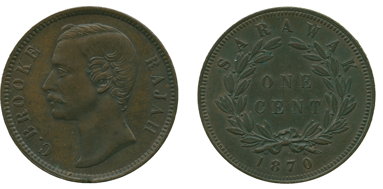 Sarawak  C  Brooke, 1 Cent, 1870