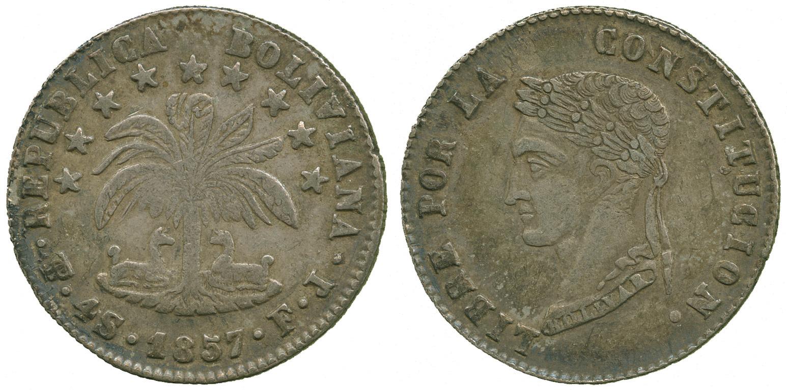 Bolivia, Republic, silver 4 Soles, 1857