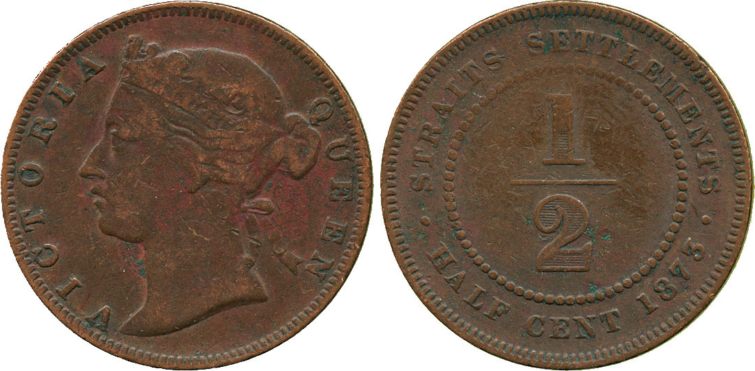 Straits Settlements, Victoria, Copper 1/2 Cent, 1873