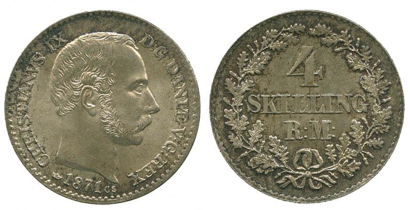 Denmark, Christian IX, 4 Skilling, 1871