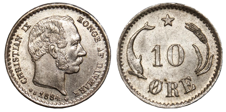 Denmark, Christian IX, 10 Øre, 1884