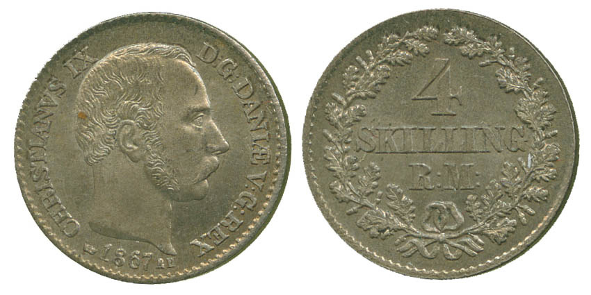 Denmark, Christian IX, 4 Skilling, 1867