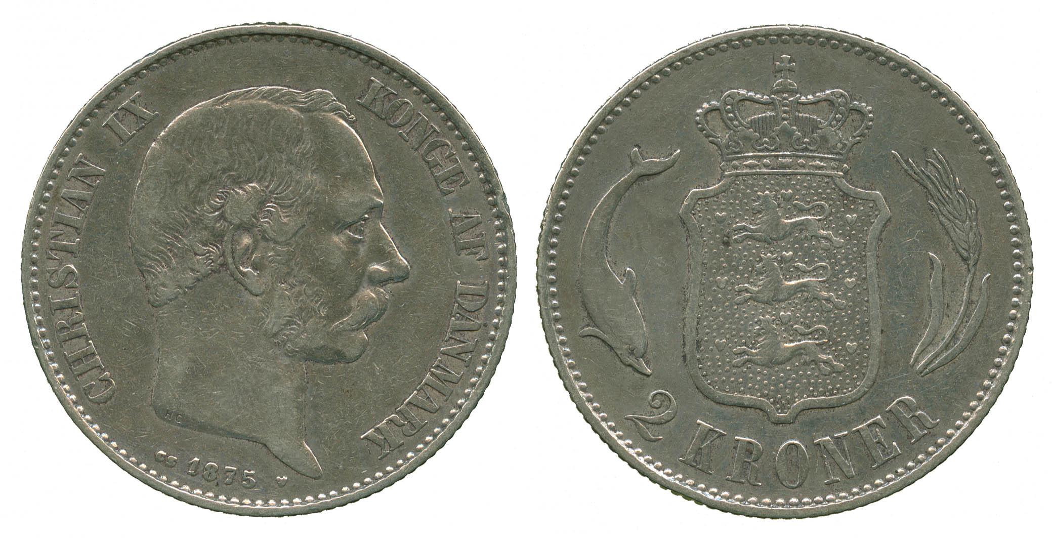 Denmark, Christian IX, silver 2 Kroner, 1875