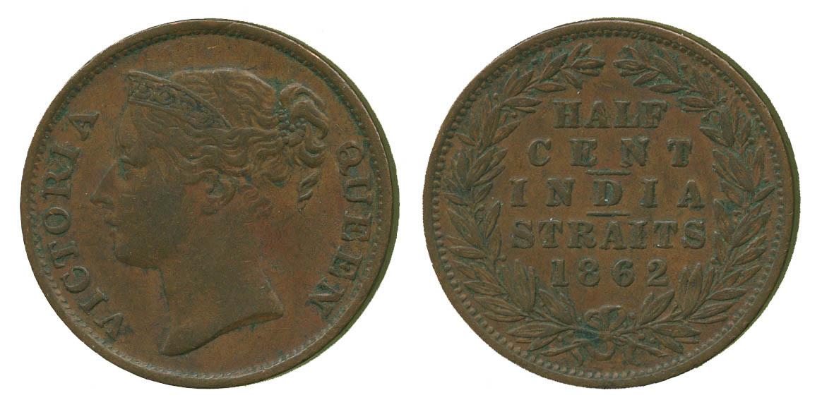 Straits Settlements, Victoria, Copper 1/2 Cent, 1862
