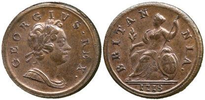 George I, Halfpenny, 1718