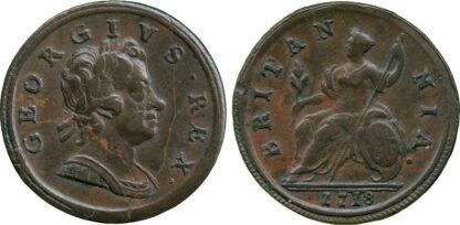 "George I, ""Dump"" issue, Halfpenny, 1718"