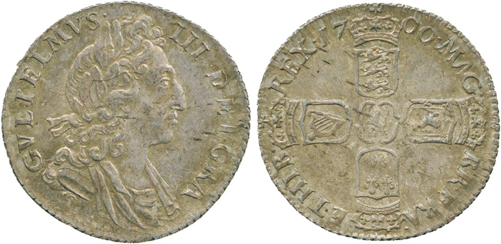 William III, Sixpence, 1700