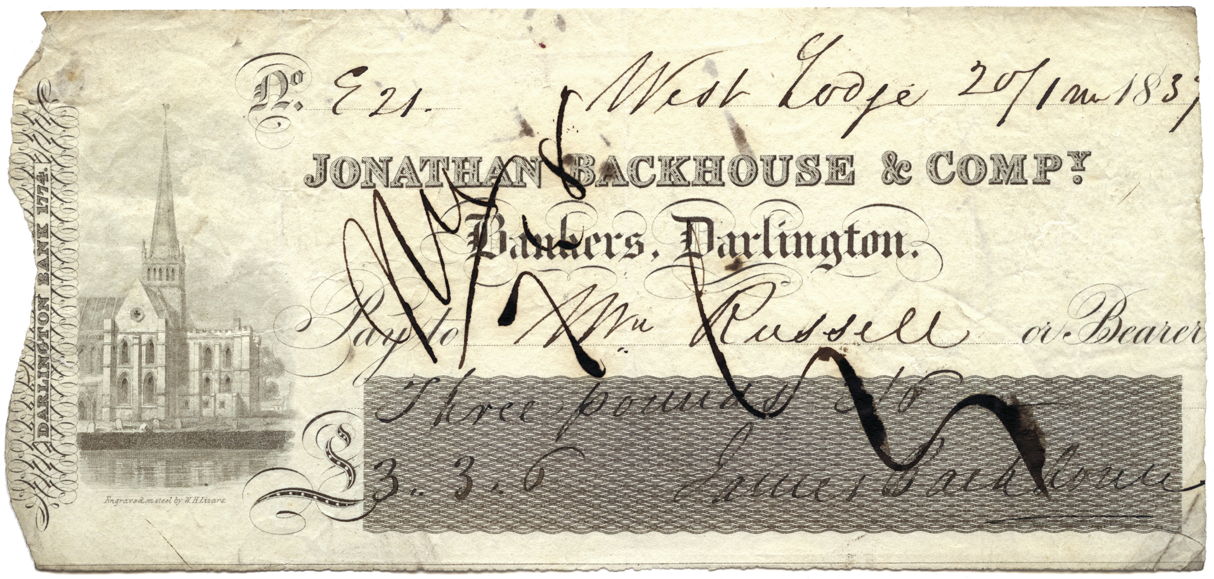 Great Britain, Cheque, Durham, £3.3.6d, 1837