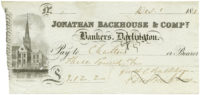 Great Britain, Cheque, Darlington/Backhouse £3-12-2, 1848