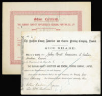 Great Britain, Printing Share Certificates (2), 1873