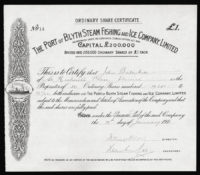 Great Britain, Steam Fishing Share Certificate, 1911