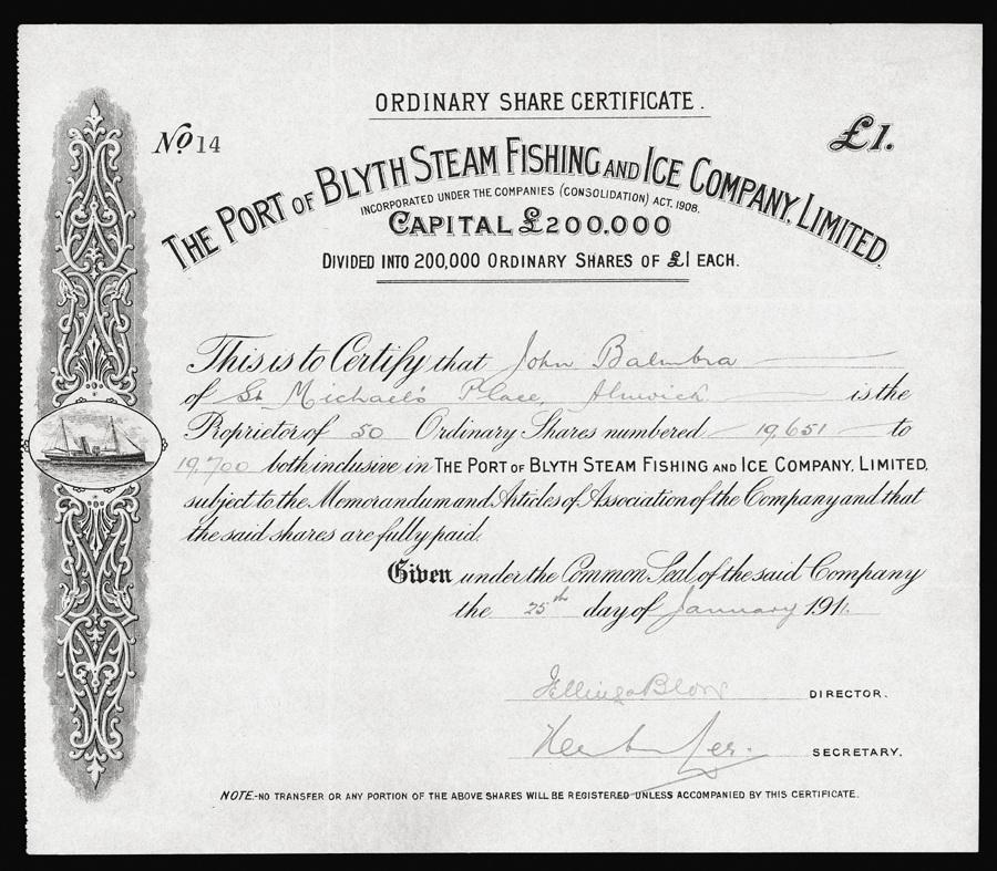 Great Britain, Steam Fishing Share Certificate, 1911