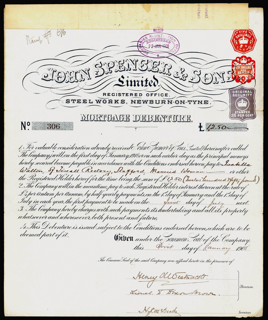 Great Britain, Steel Works Share Certificate, 1908