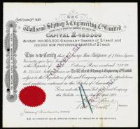 Great Britain, Engineering Share Certificate, 1918
