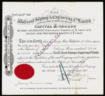 Great Britain, Engineering Share Certificate, 1918