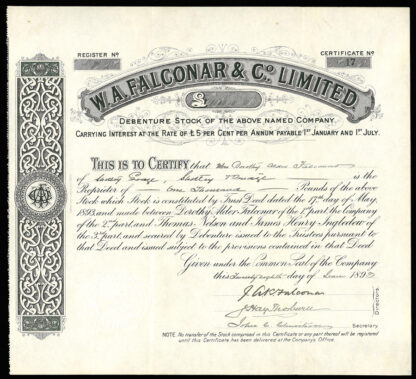 Great Britain, Brewing Industry Share Certificate