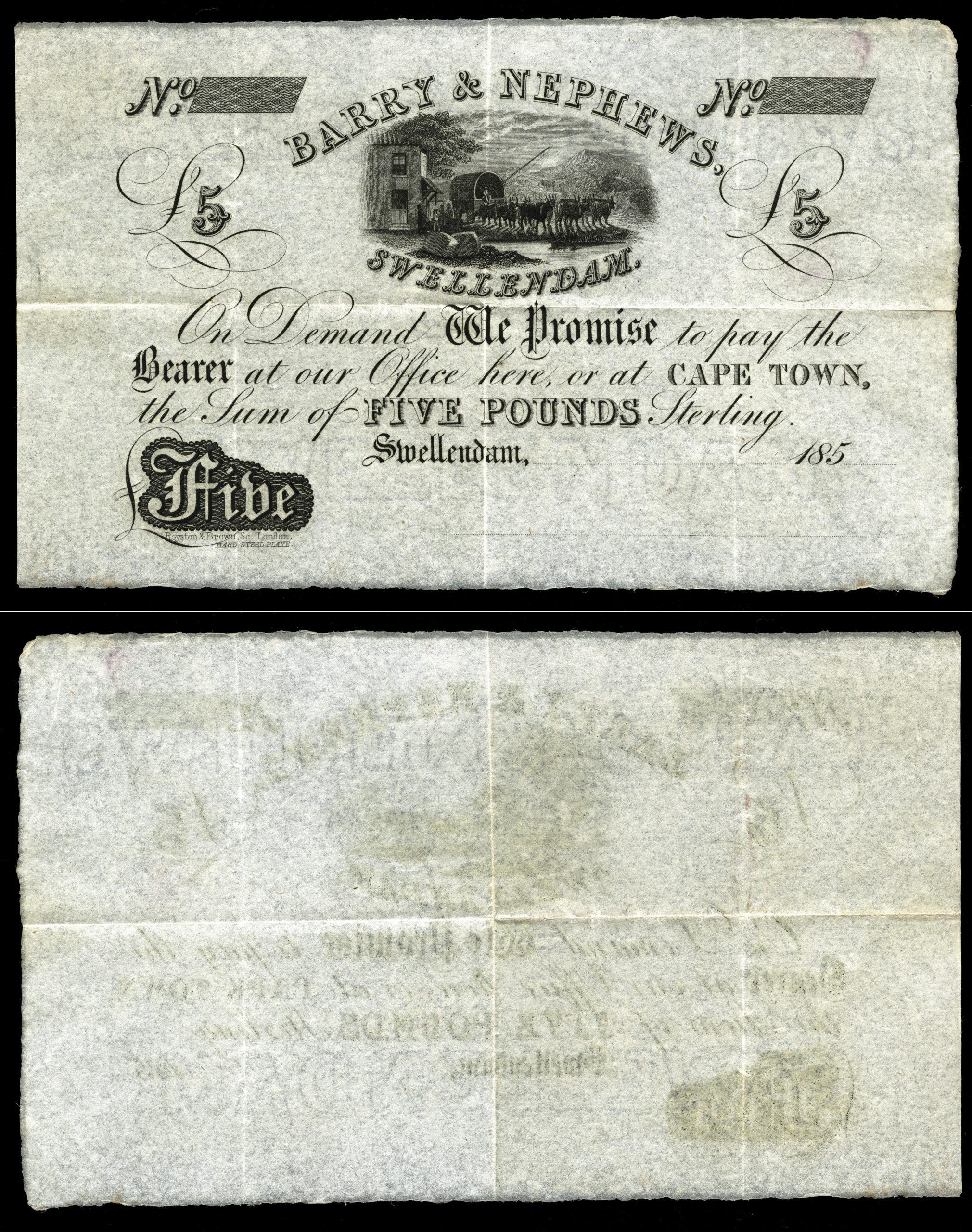 South Africa, Swellendam £5, C.1850