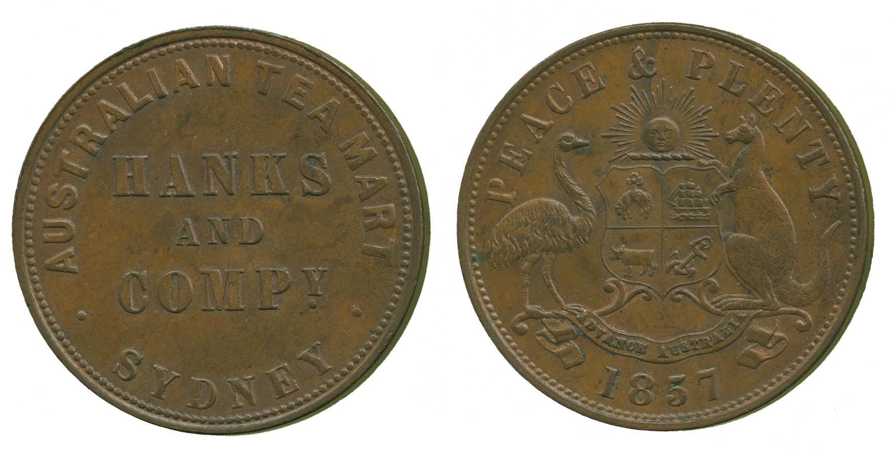 Australia, Sydney, Hanks & Company, Penny Token, 1857