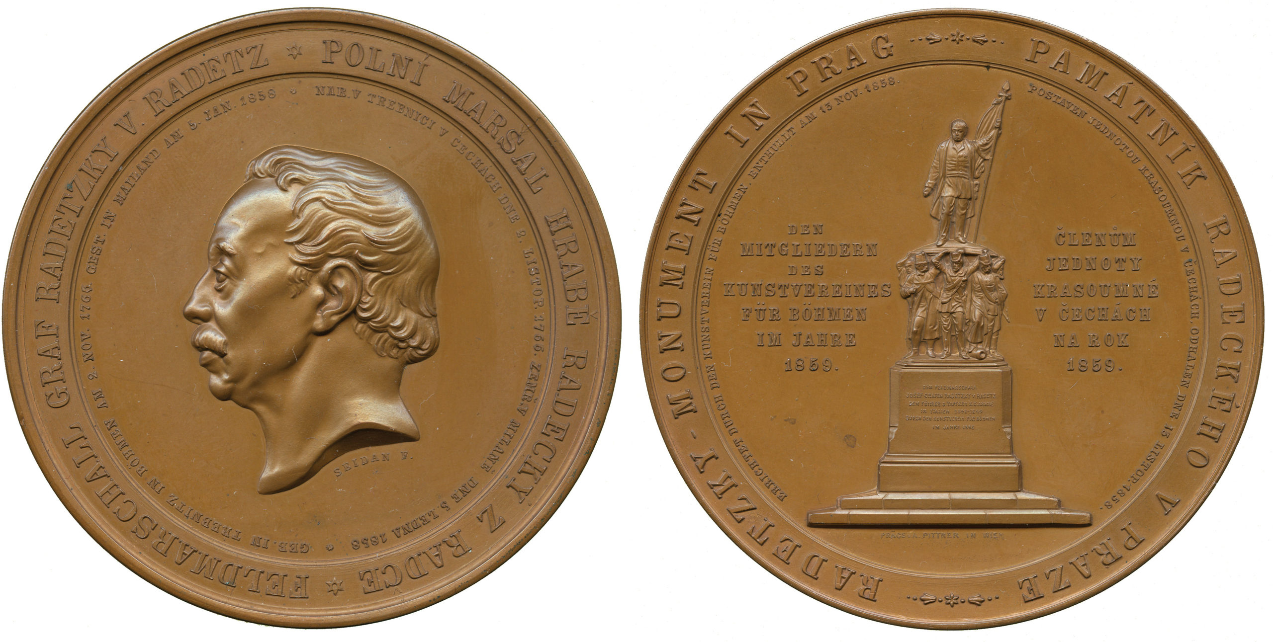 Austria, Count Radetzky, Statue in Prague, Medal, 1859