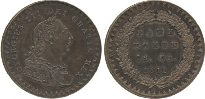 George III, Proof Silver Eighteenpence Bank Token, 1811
