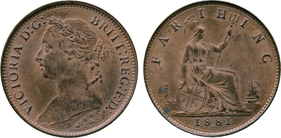 Victoria, Farthing, bronze issue, 1881