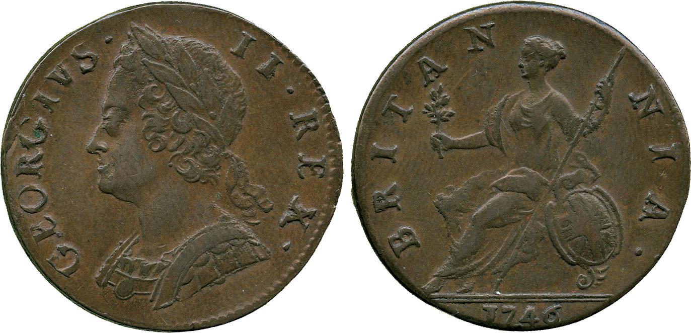 George II, Halfpenny, 1746
