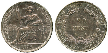 French Indo-China, silver, 20 Cents 1928
