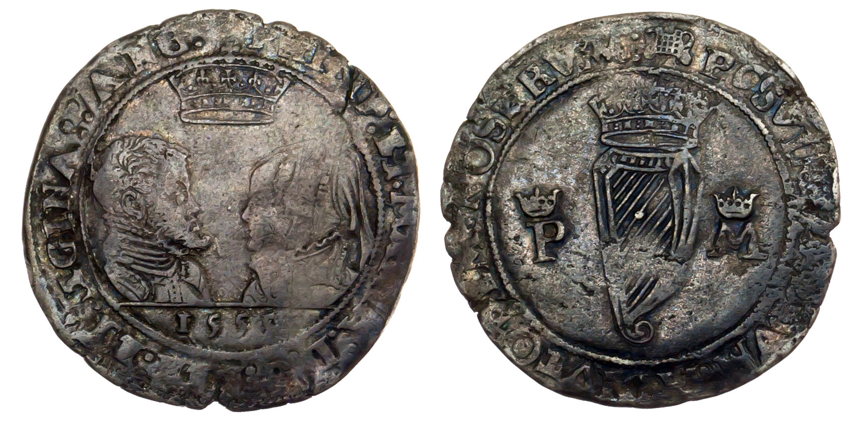 Ireland, Philip & Mary, silver Shilling, 1555