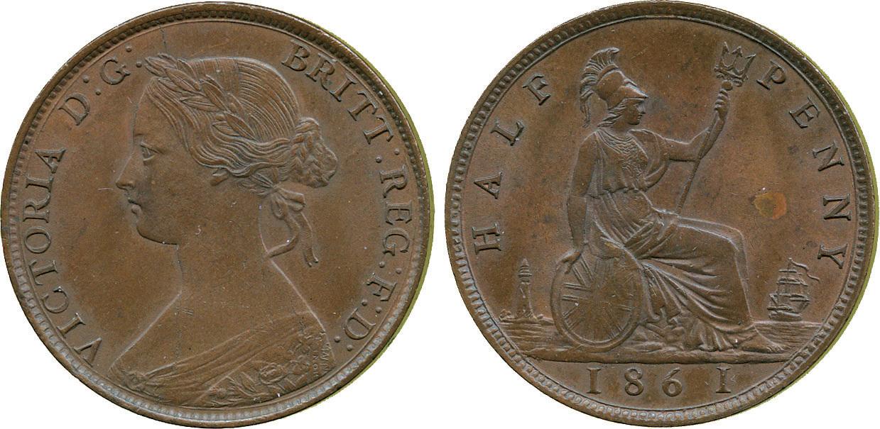 Victoria, Halfpenny, 1861