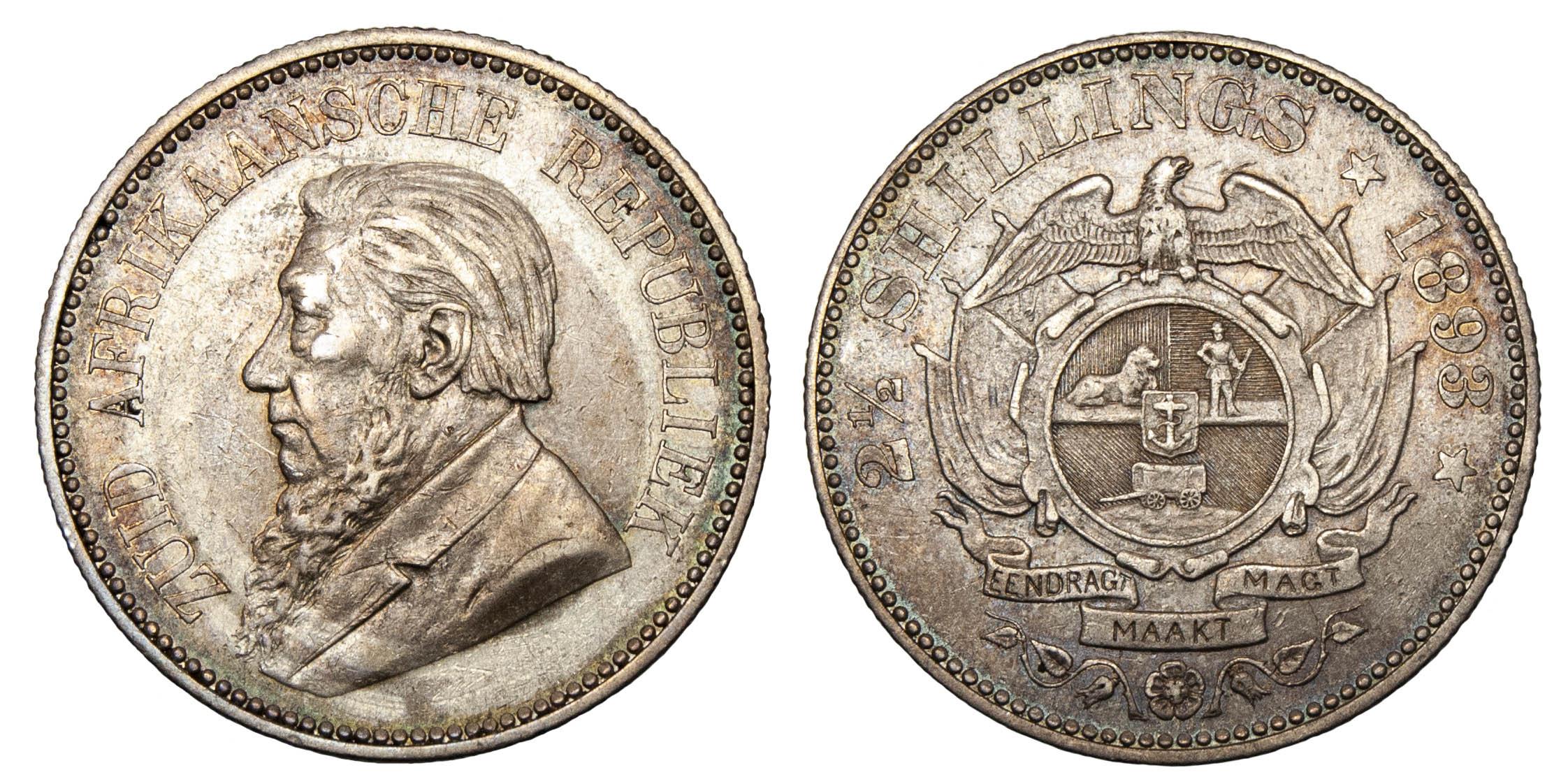 South Africa, Paul Kruger, silver Halfcrown, 1893