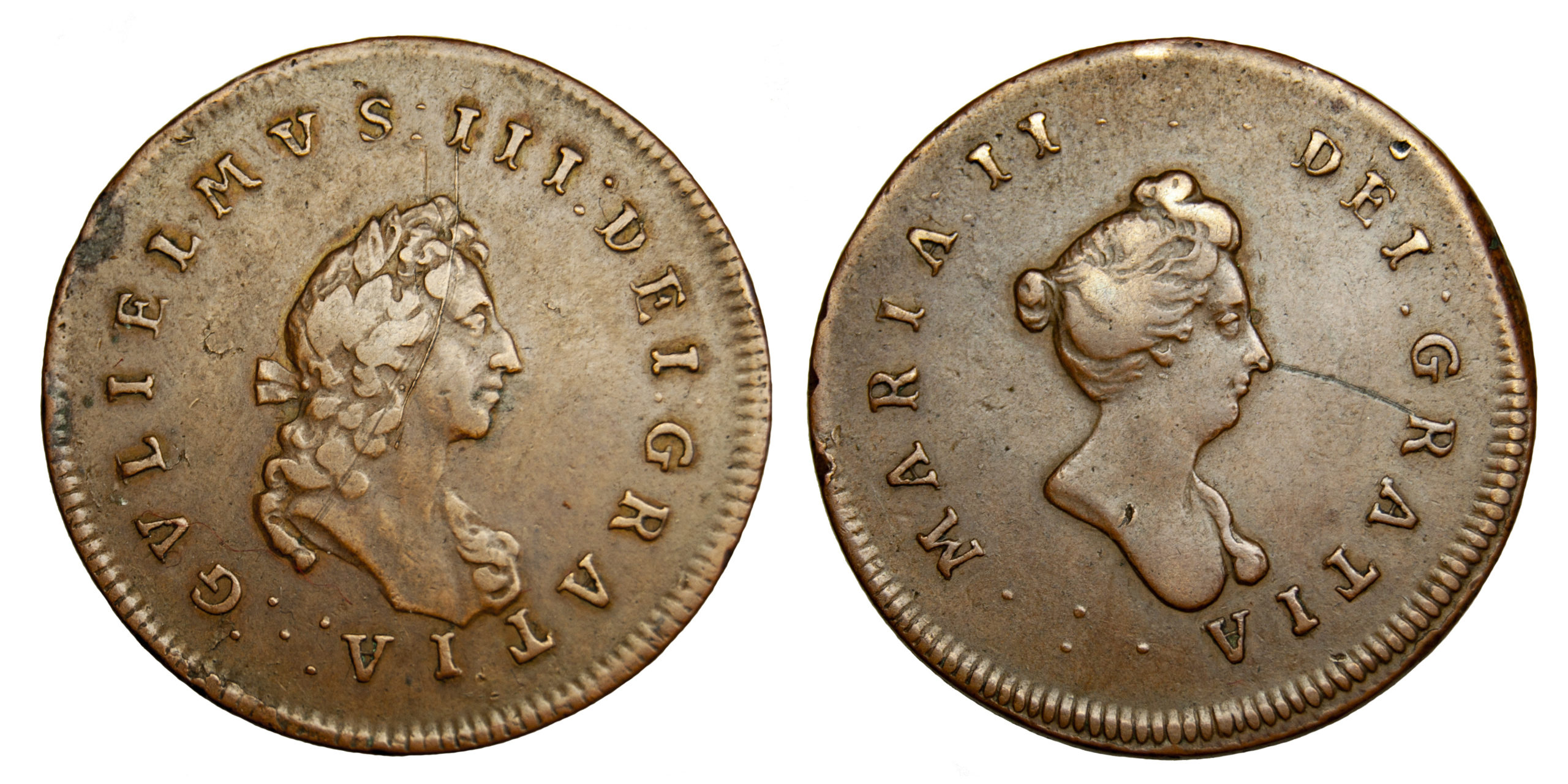William & Mary, Medalet or Pattern, Halfpenny