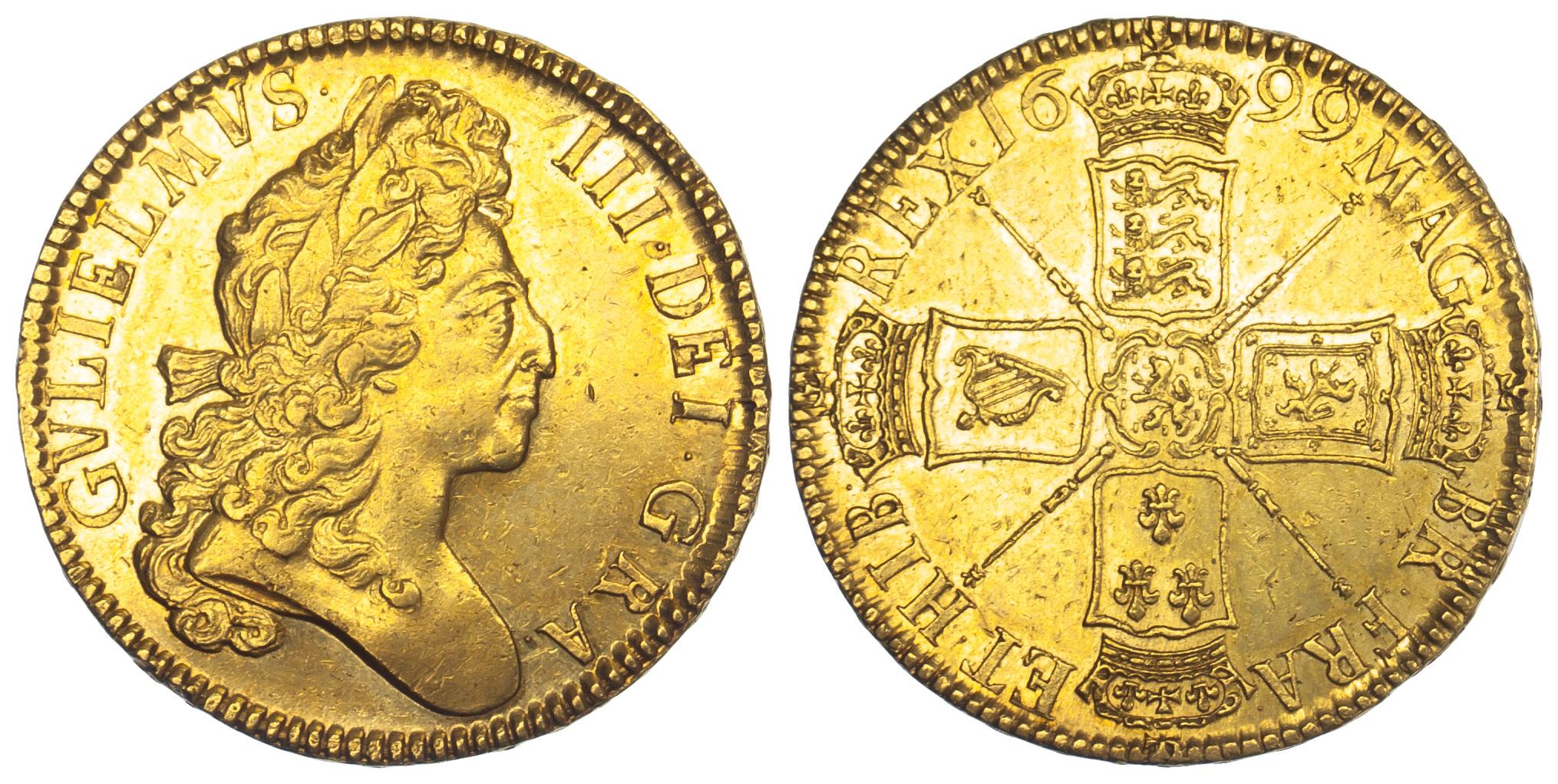 William III, Five Guineas, 1699
