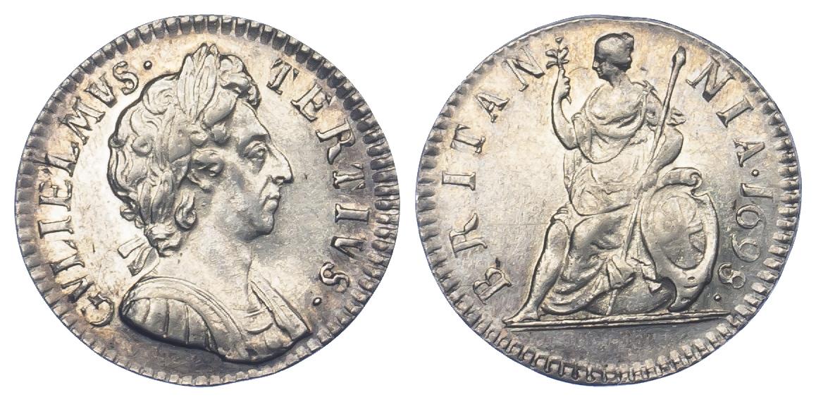 1698 William III Silver Pattern Farthing (Cooke 542, BMC680)