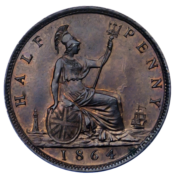 1864 Halfpenny Tonnage Numbers Etched in Field