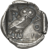 Ancient greek coin athenian owl