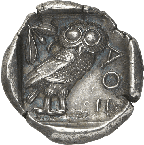 Ancient greek coin athenian owl