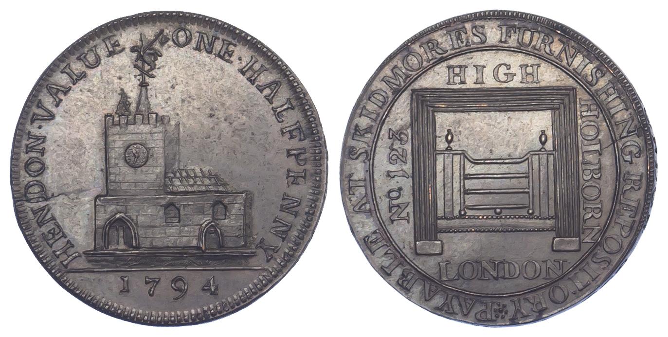 London, Hendon, Skidmore, Halfpenny Token, 1794