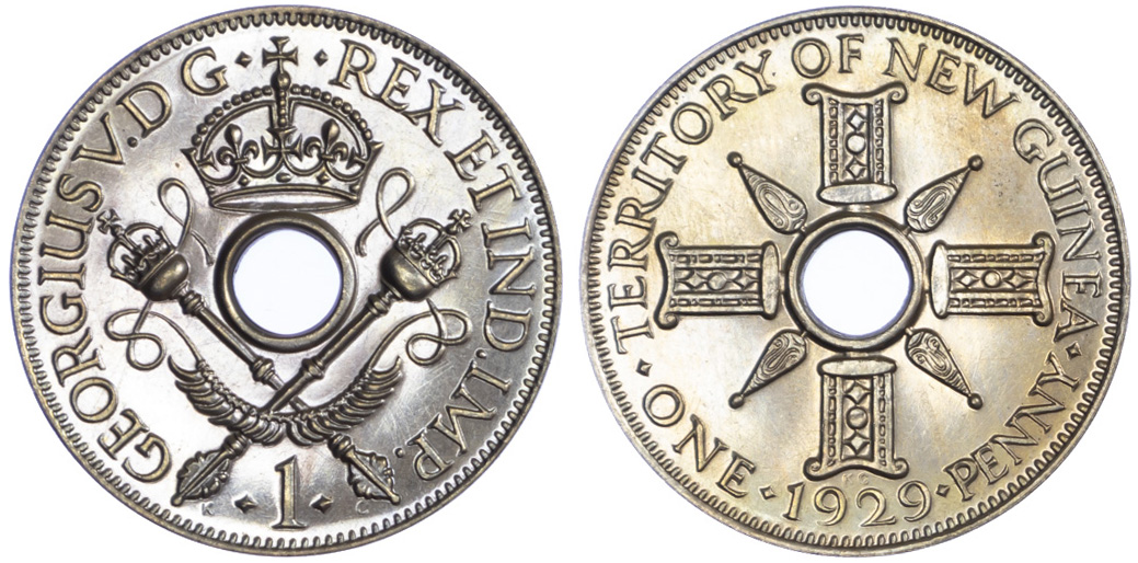 New Guinea, George V, Proof Penny, 1929