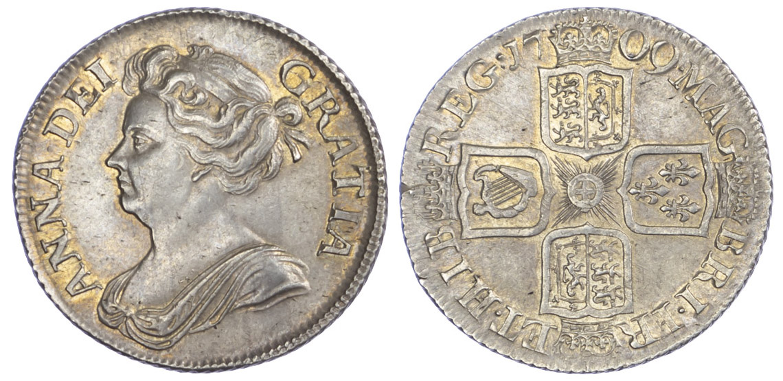 1709 Anne Shilling Plain EF or better