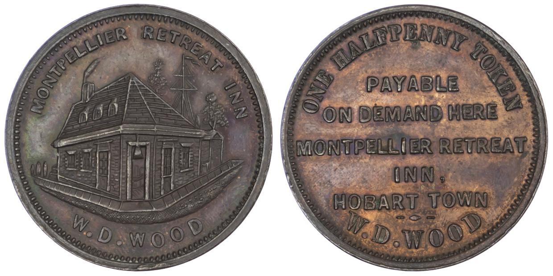 Australia, Tasmania, Copper Token Halfpenny, 1854
