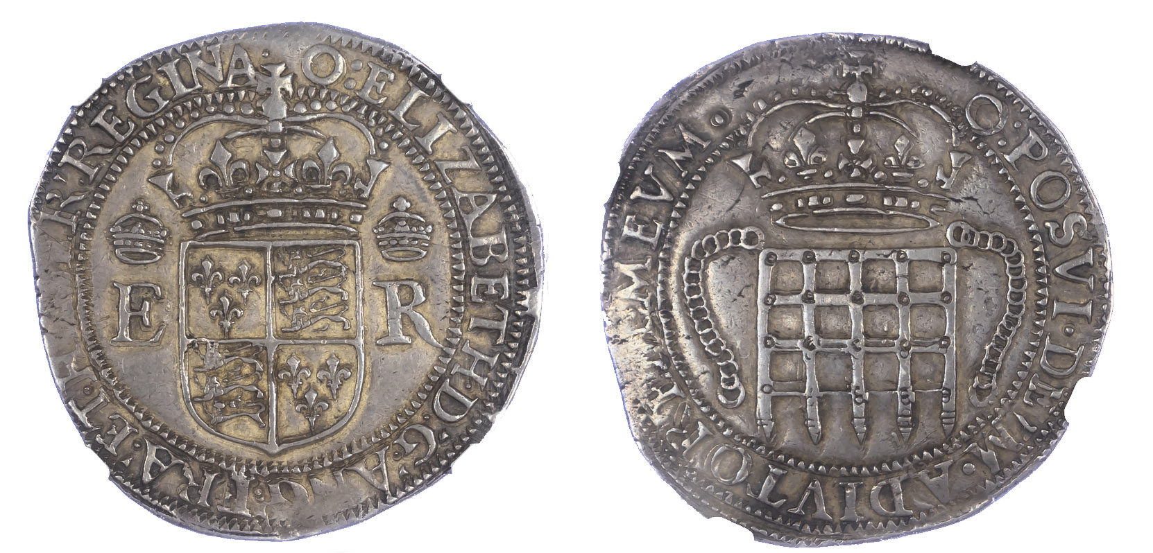 Elizabeth I Portcullis Money Four Testerns S2607B