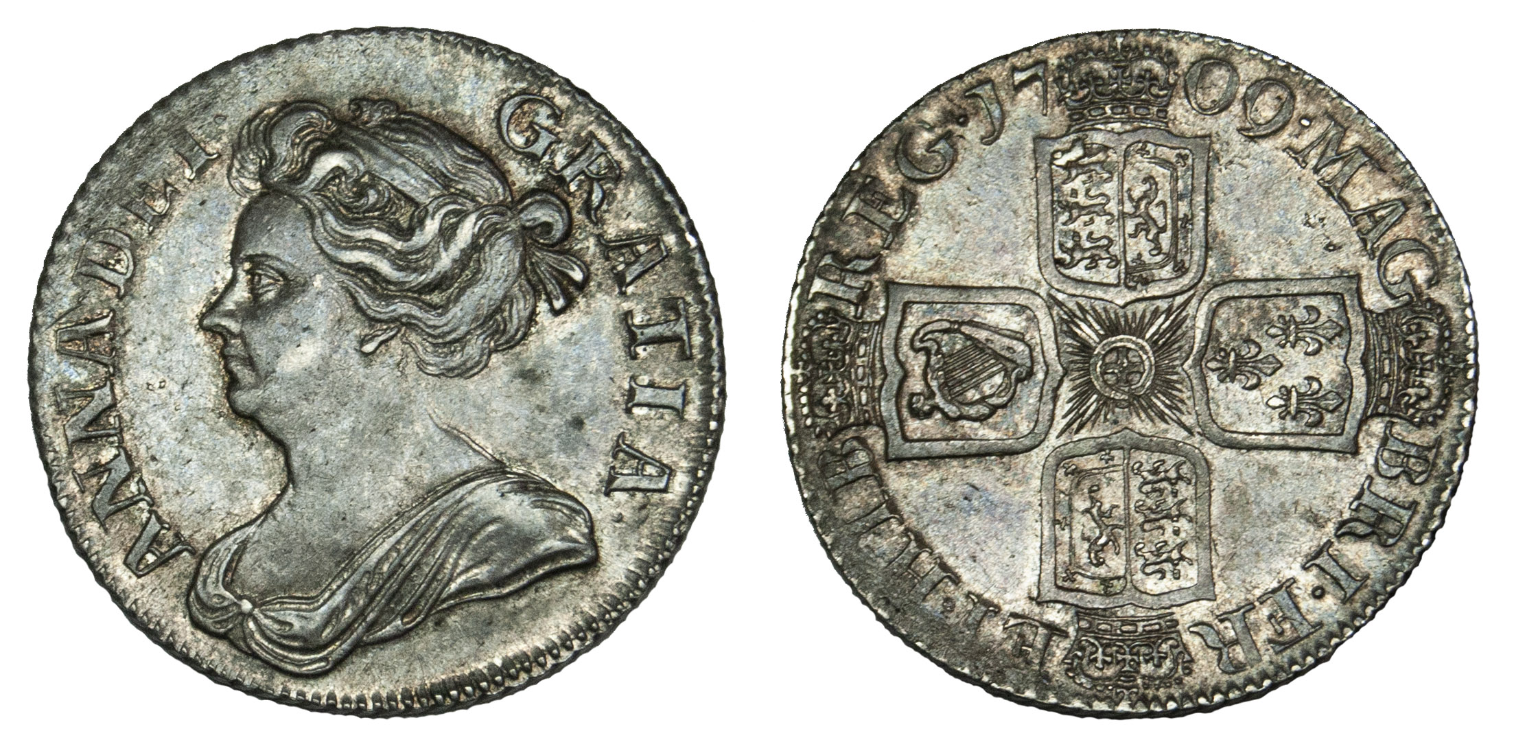 Anne 1709 Shilling, third bust plain angles
