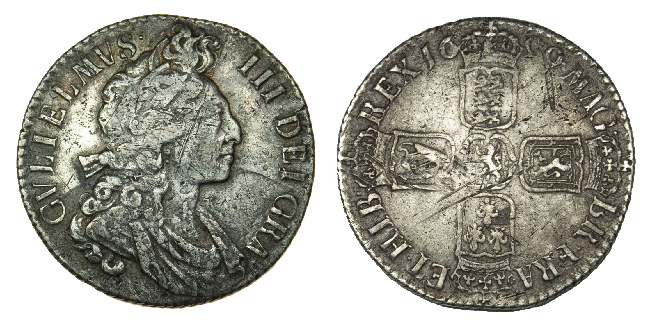 William III, 1699 Shilling (Flaming Hair)