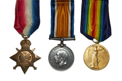 1914 Group of 3, Victory Medal to Pte CM Fox
